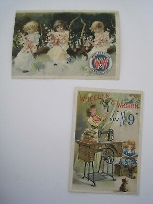 Victorian SEWING TRADE CARDS Wheeler Wilson Lot 2 Children