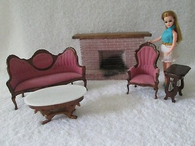 Vintage Topper Dawn Doll Victorian Sofa, Chair Fireplace Dollhouse Furniture Lot