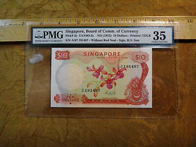 Singapore Board Of Comm Of Currency $10 Ten Dollar Note PMG 35 VF - Free S&H USA
