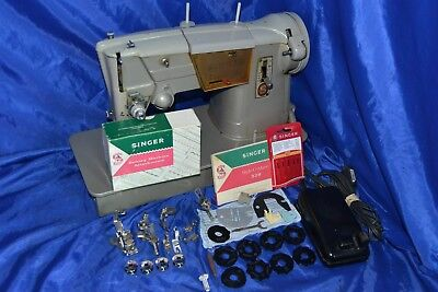 SINGER 328k ZIGZAG GRAY SEWING MACHINE ATTACHMENTS SERVICED SEWS NICE STITCH