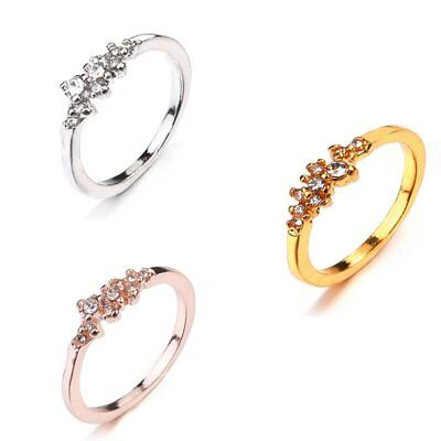 Simple Women Gold/Silver Color Wedding Engagement Stackable Crystal Ring Jewelry