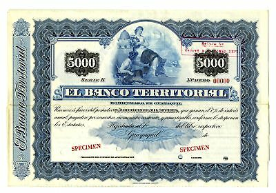 Ecuador. Banco Territorial 1890-1910 Specimen 5000 Sucre Coupon Bond Blue VF ABN