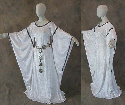 White Medieval Bell Sleeve Dress Gown LARP Game of Thrones Cosplay LARP L XL
