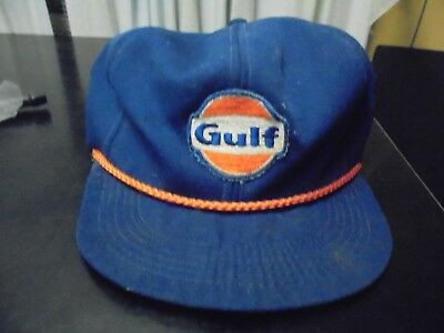Vintage Gulf  Gas Oil Snap Back Trucker Hat Mesh Cap Adjustable Distressed aged