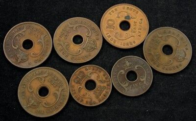 Lot of 7 East Africa Copper Coins (All Different Dates) 1925-1964