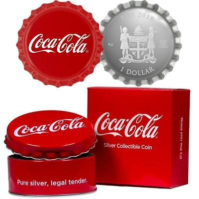 2018 Coca-Cola Fiji Coin $1 Bottle Cap Shaped 999 Silver Proof OGP & COA