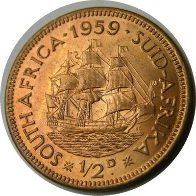 elf South Africa 1/2 Penny 1959 Sailing Ship