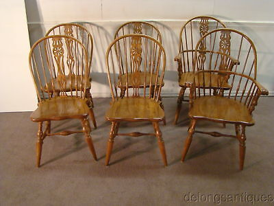 49614A: Knobcreek Set of 6 Solid Oak Bow-Back Windsor Chairs