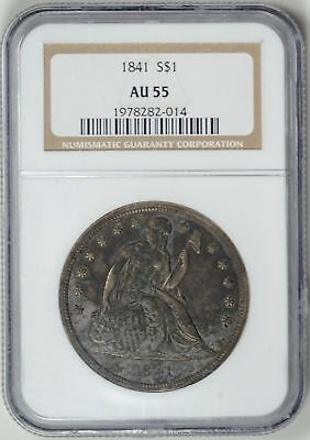 1841  NGC  AU55 SEATED LIBERTY DOLLAR  *  Philadelphia Mint  *   #1978282-014