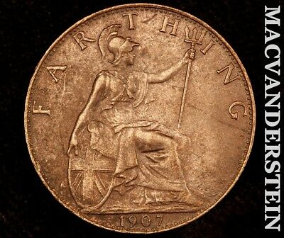 Great Britain:1907 Farthing-Scarce High Grade!! Luster!! No Reserve!! #a8576