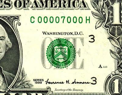 $1 1999 :::00007000::: UNIQUE FANCY LOW SERIAL NUMBER :: Federal Reserve Note **