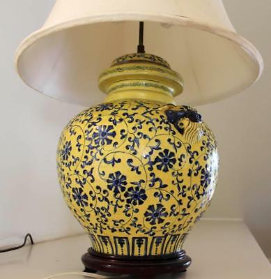 Antique Table Bedside Asian Lion Ginger Jar LAMP Yellow/Blue SILK Magnificent