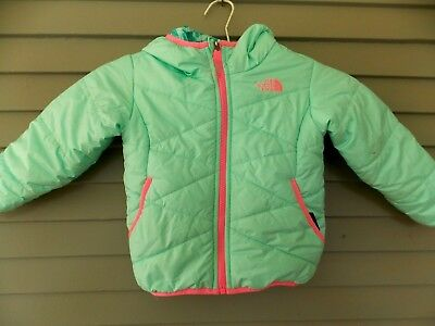 Girl's The North Face Hooded Winter Coat Jacket Size 3T Mint Green and Pink