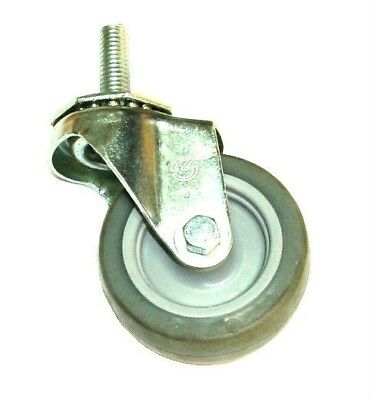 "One New Swivel Caster with 1/2"" Threaded Stem and 3"" Gray Soft Rubber Wheel"