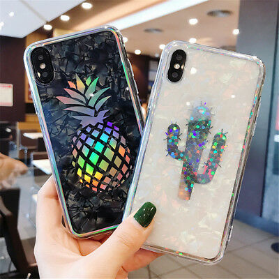 For iPhone X 8 6s 7 Plus Shockproof Hybrid TPU Bling Glitter Pattern Case Cover