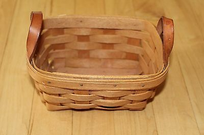 Longaberger Classic Stain 1993 TEA Basket With Leather Loop Handles