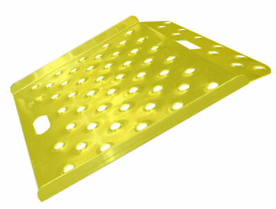 """Safety Yellow Wedge Style Perforated Aluminum Ramp 27"""" x 27"""" Made in U.S.A."""