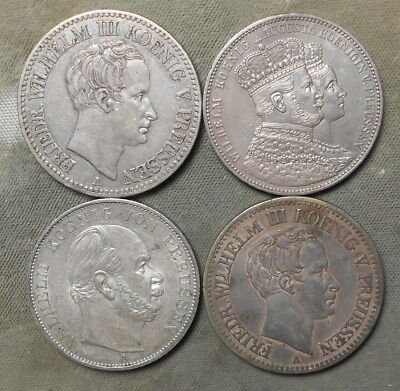 4 Prussia Silver 1 Thalers: 1824A - 1828A - 1861 - 1871