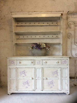~*Vintage Chippy Paint Dresser/Cupboard~Cabbages & Roses Inserts*~