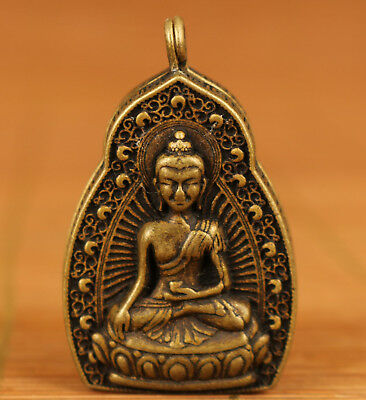 Asian Chinese Old bronze Handmade Carved buddha Statue pendant