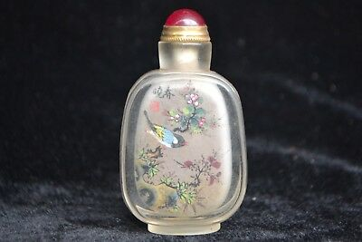 china culture Collectible Old glass inside Paint flower bird rare Snuff Bottle