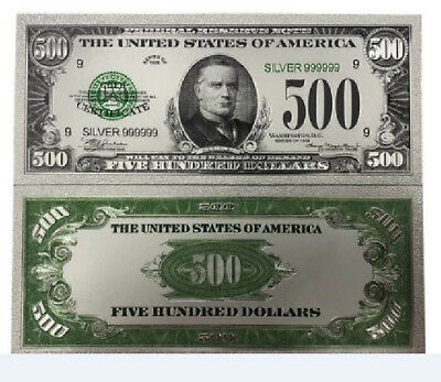 US $500 Five Hundred Dollar Colored Silver Foil Banknote Novelty Money Gifts
