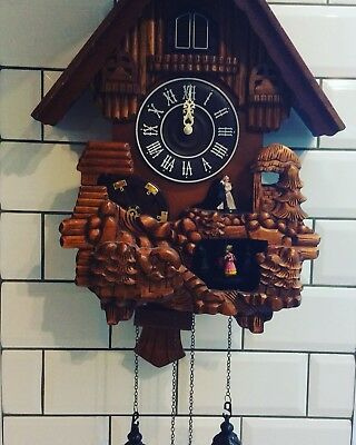% Huge Cuckoo Clock, Waterwheel, Carved Needs Attention, Kitsch %