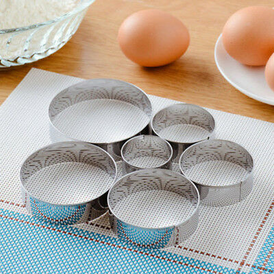 5X Round Circle Stainless Steel Cookie Cutter Set Biscuit Cookies Pastry Mold CB