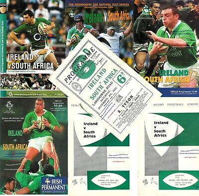 IRELAND v SOUTH AFRICA RUGBY PROGRAMMES 1951 - 2009 inc 1960 1965 98 2000 2004