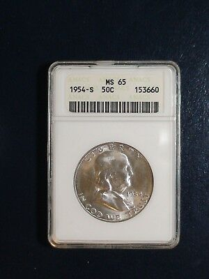 1954 S FRANKLIN HALF DOLLAR ANACS MS65 50C SILVER Coin Starts At 99 Cents!