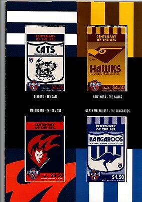 1996 AFL Centenary STAMP BOOKLET COLLECTION 16 s/a booklets for each of 16 Clubs