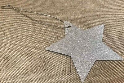 200 Christmas Silver Glitter Star Gift Tags Present Wrapping 40 X 5 New X224