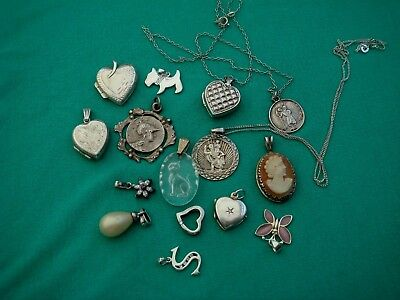 Collection Solid Sterling Silver Pendants & 2 Saint Christophers & Cameo