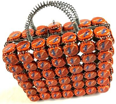 Folk Art Bottle Cap Purse Fanta Orange Soda Handbag Lunchbox Style Hipster