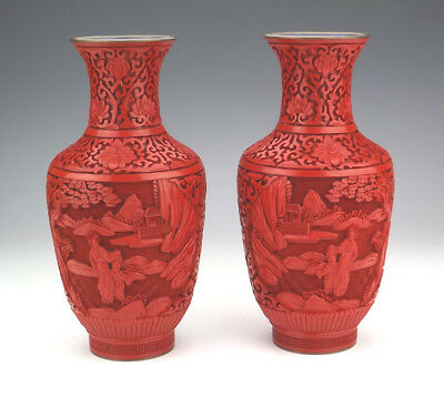 Vintage Pair Of Chinese Cinnabar - Oriental Scene Decorated Vases - Lovely!