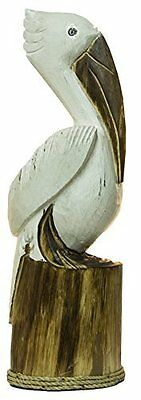 Hand Carved Pelican Ocean Bird Wood Sculpture Cottage Fish Tropical Island Art