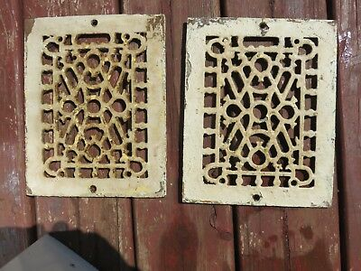 2 Victorian Sm.f. Ornate Cast Iron Wall Floor Grate Vent Salvage Chippy Paint