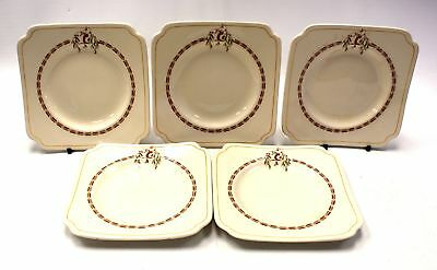 "5x Rare ROYAL DOULTON Art Deco ""Darley"" D.5640 Square Side Plates  - S86"