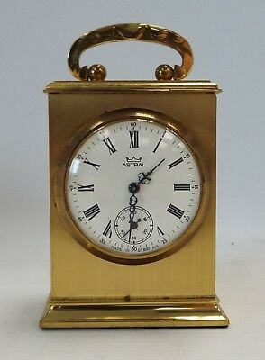 Vintage ASTRAL Miniature Wind Up Brass Carriage Clock - C86
