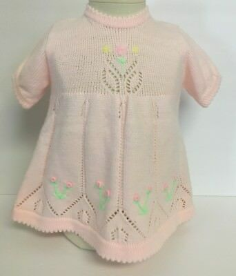 Vintage Tagged PINK AND BLUE TOGS Girl`s Toddlers Embroidered Sweater Dress