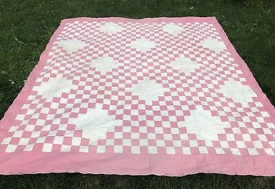 Beautiful antique quilt pink white hand quilted c1920  76x86""
