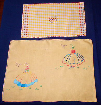 Vintage Embroidered Yellow Tray Cloths