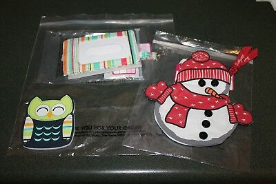 NEW Thirty One Sunny Stripe Badge Buddy, Snow Cutie Coin Purse, Hoo's Happy File