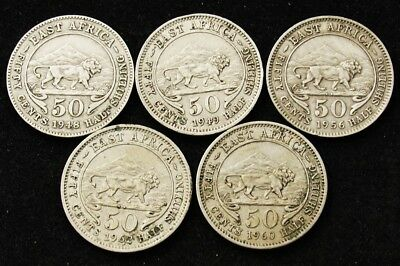 Lot of 5 British East Africa 50 Cent Half Shilling Coins -Includes 1956 KHN Coin