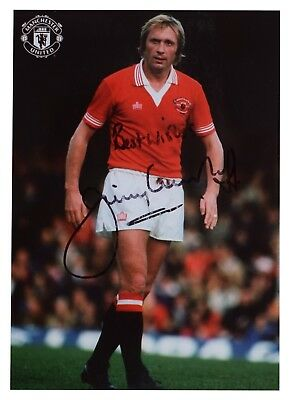 Jimmy Greenhoff SIGNED Official Photo Club Card Autograph Manchester United COA