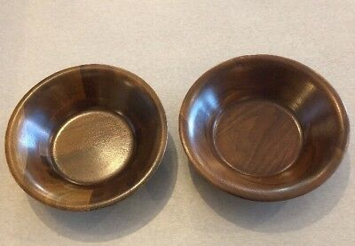Vintage Set of 2 Mid Century Vermillion Real Walnut Wood Salad Bowls 6""