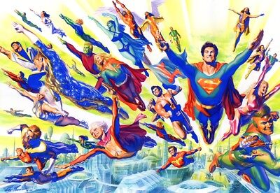 ALEX ROSS rare SUPERBOY & LEGION litho SIGNED NEW 2018 with COA EXCLUSIVE #65!