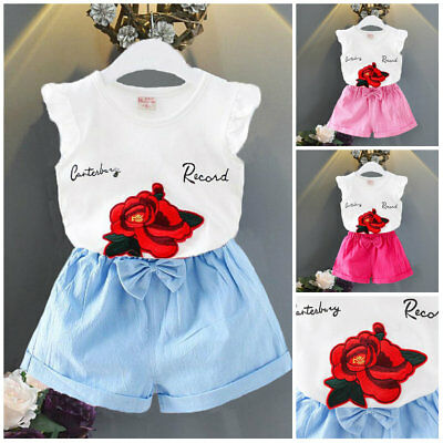 Girls summer outfits baby girls cotton Tee +short pants kids daily outfits rose