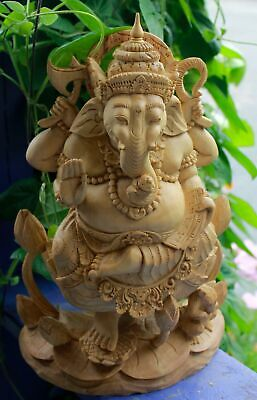 Ganesha Remover of Obstacles Statue Carved Wood sculpture Balinese Hindu Art