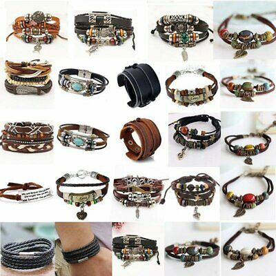 Vintage Men Women Handmade Punk Leather Bracelet Braided Bangle Wristband Gift